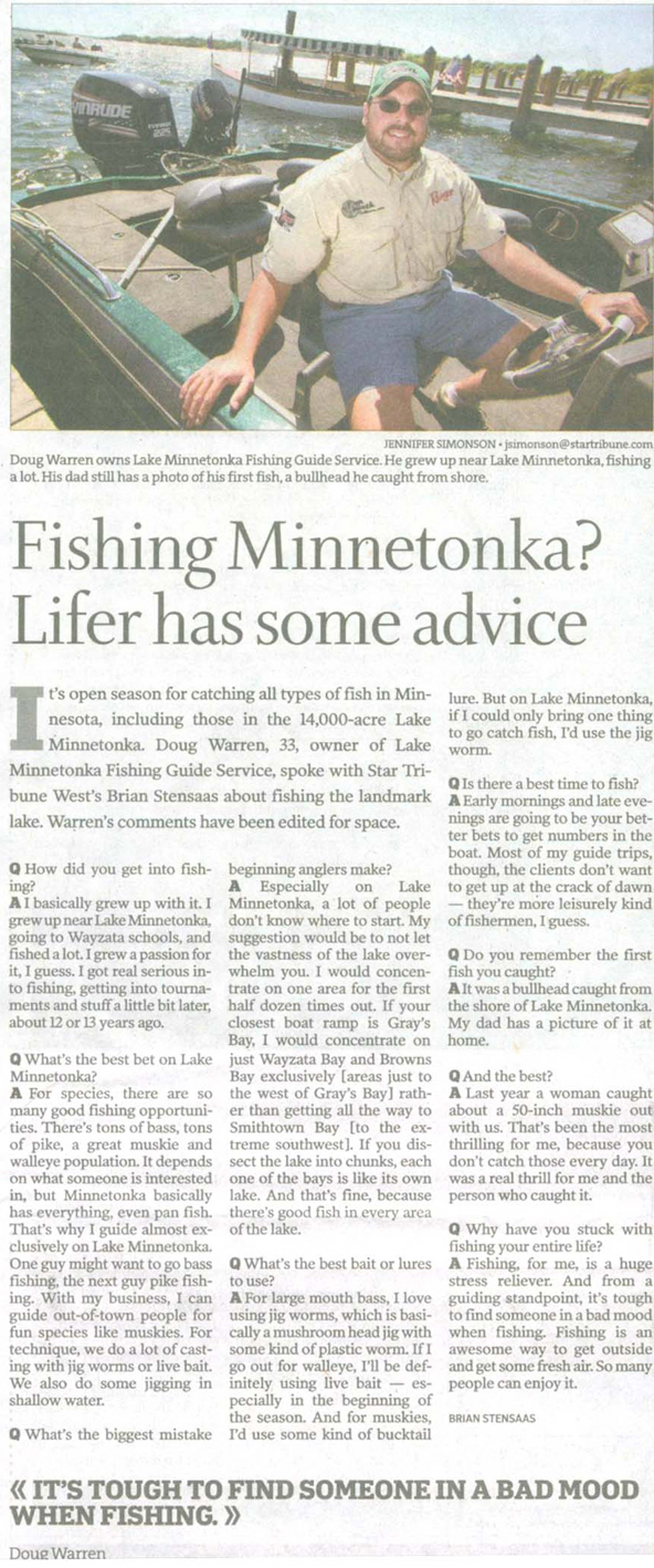 Lake Minnetonka Fishing Guides in the Minneapolis Star Tribune